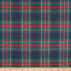 Yarn Dyed Flannel Plaid Blue/Red Fabric