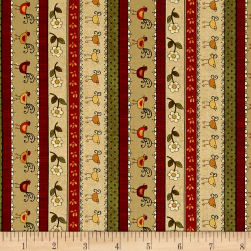 Chicks On The Run Stripe Tan Fabric