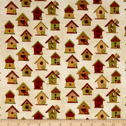 Chicks On The Run Birdhouses Cream Fabric
