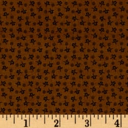Modern Antiques Rose Buds Brown Fabric