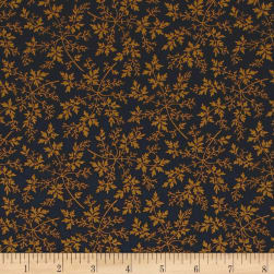 Modern Antiques Leaves Navy Fabric