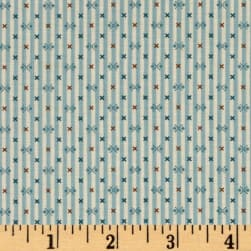 Modern Antiques Stripes Teal Fabric