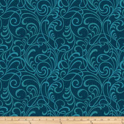 Here Comes The Sun Scrolls Squared Teal Fabric