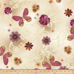 Benartex Floral Impressions Pressed Butterfly Floral Beige Fabric