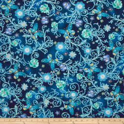 Kanvas Floral ImpressionsPressed Butterfly Floral Turq. Fabric