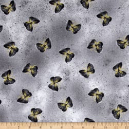 Kanvas Floral Impressions Butterfly Wash Light Gray Fabric