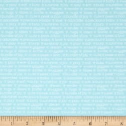 Contempo My Little Sunshine Words Light Turquoise Fabric