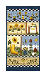 Benartex Sunshine Garden Sunshine Panel Blue Multi Fabric