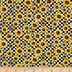 Benartex Sunshine Garden Sunflowers Black/White Fabric