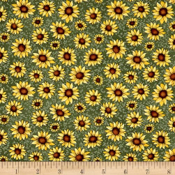 Benartex Sunshine Garden Sunflowers Green Fabric