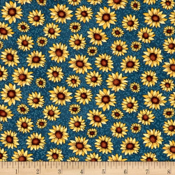 Benartex Sunshine Garden Sunflowers Medium Blue Fabric