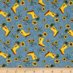 Benartex Sunshine Garden Boots Blue Fabric