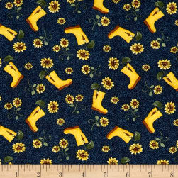 Benartex Sunshine Garden Boots Navy Fabric