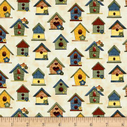 Benartex Sunshine Garden Bird Houses Sand Fabric