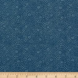 Sunshine Garden Tile Medium Blue Fabric