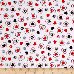 Kanvas Scottish Charm Scotty's in Love White Fabric