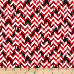Kanvas Scottish Charm Houndtooth Hearts White Fabric