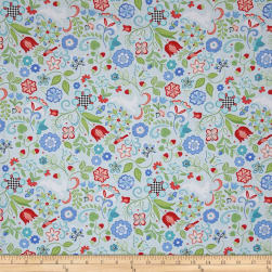 Folk Art Fantasy Floral Light Blue Fabric