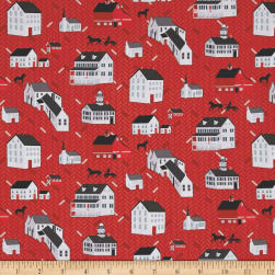 Folk Art Fantasy Houses Red Fabric