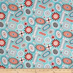 Folk Art Fantasy Rugs Turquoise Fabric