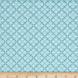 Folk Art Fantasy Diamonds Turquoise Fabric