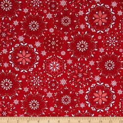 Contempo  Winter Games Snowflakes Red Fabric