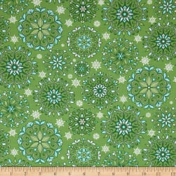 Contempo Winter Games Snowflakes Green Fabric