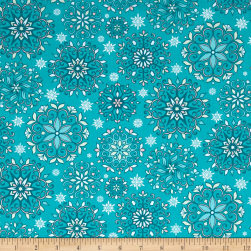 Contempo Winter Games Snowflakes Teal Fabric