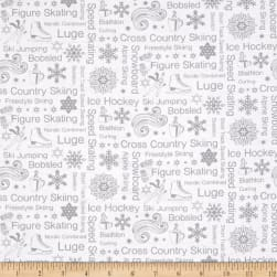 Contempo Winter Games Text Silver Fabric