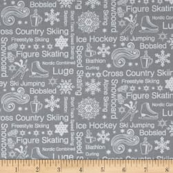 Contempo Winter Games Text Grey Fabric
