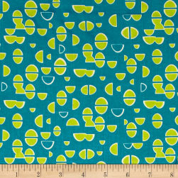 Contempo Modern Marks Half Ovals Teal Fabric