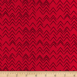 Contempo Modern Marks Herringbone Red Fabric