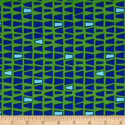 Contempo Modern Marks Quirky Triangles Green/Blue Fabric