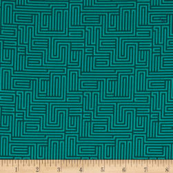 Contempo Dot Crazy Maze Teal Fabric