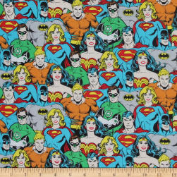 DC COMICS ll Superhero Crowd Multi Fabric