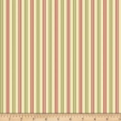 Benartex Homestead: Colonial Stripes Green/Red Fabric