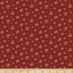 Benartex Homestead: Colonial Rose Buds Burgundy Fabric