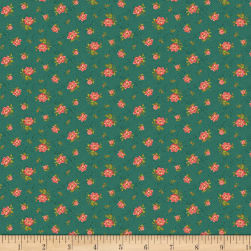 Benartex Homestead: Country Rose Buds Teal Fabric