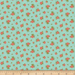Benartex Homestead: Country Rose Buds Turquoise Fabric