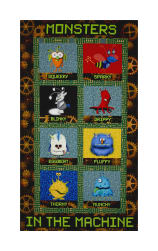 Benartex Matthew's Mini Monsters Blocks Panel Black