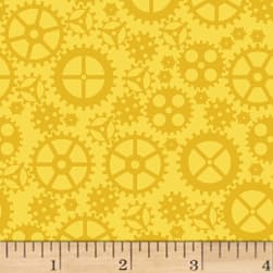 Matthew's Mini Monsters Tonal Gears Yellow Fabric