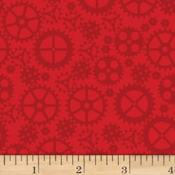 Matthew's Mini Monsters Tonal Gears Red Fabric