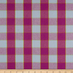 Kaffe Fassett Artisan Checkerboard Plaid Ikat Sky Fabric