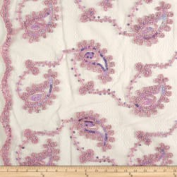 Coco Paisley Sequin Double Border Lace Pink Fabric