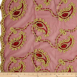 Coco Paisley Sequin Double Border Lace Burgundy Fabric