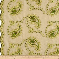 Coco Paisley Sequin Double Border Lace Olive Gold