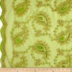 Coco Paisley Sequin Double Border Lace Lime Gold Fabric
