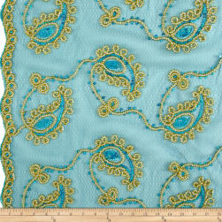 Coco Paisley Sequin Double Border Lace Teal Gold