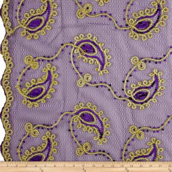 Coco Paisley Sequin Lace Purple Gold Fabric