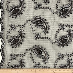 Coco Paisley Sequin Lace Black and White Fabric